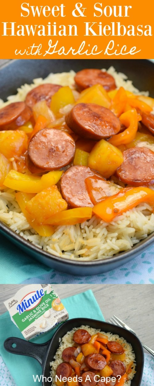 black pan holding rice and sweet and sour hawaiian kielbasa over blue and white fabric