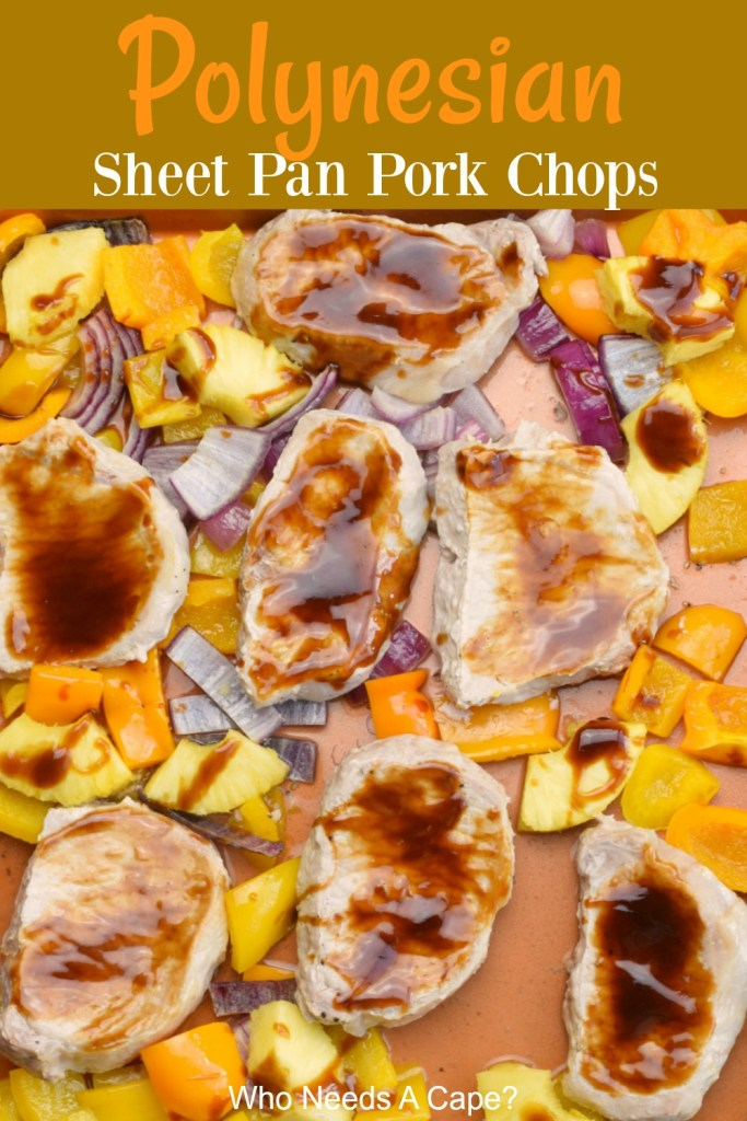 sheet pan holding boneless pork chops with sauce pineapple red onion and cut bell peppers