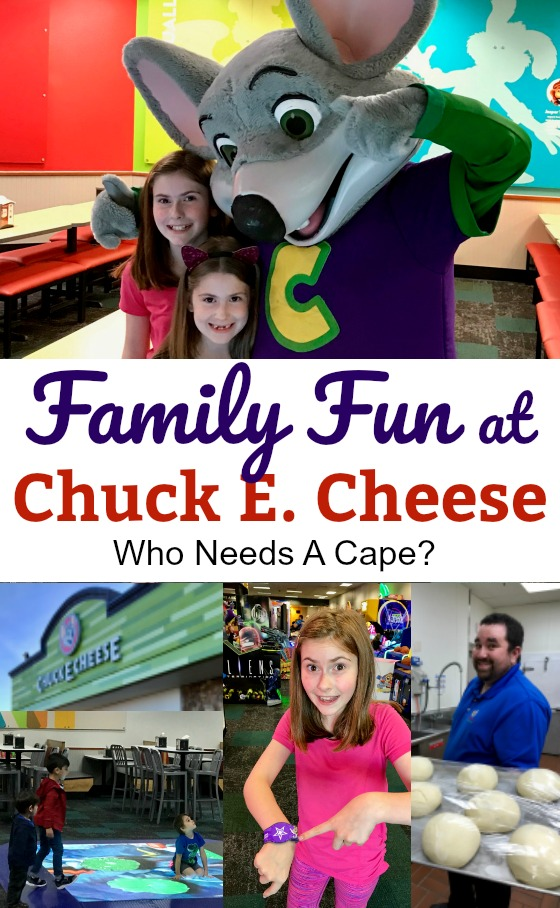 various family fun pictures at Chuck E. Cheese