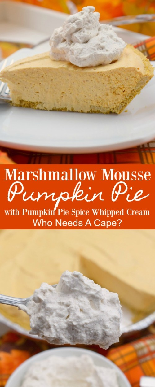 one piece of marshmallow mousse pumpkin pie on white plate nex to pie pan