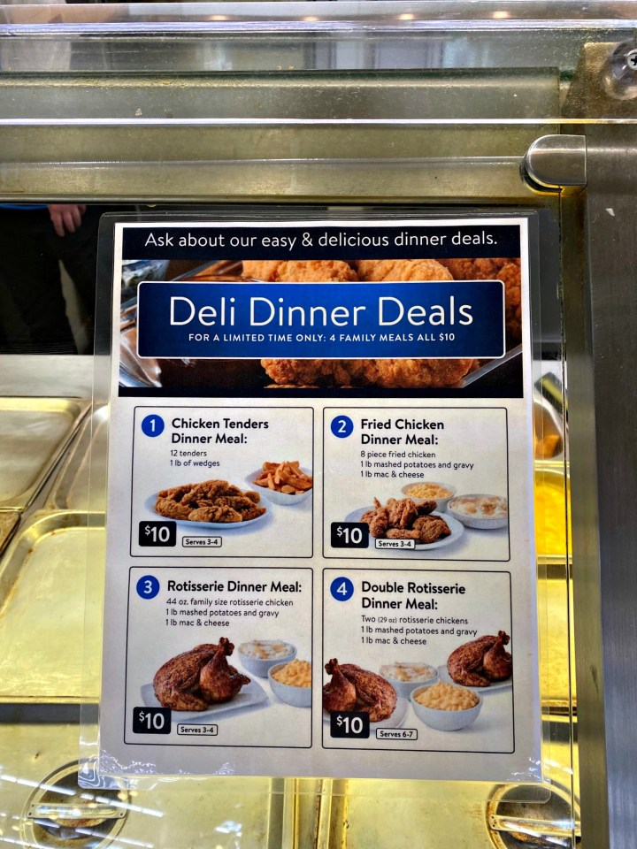 sign at walmart deli for deli dinner deals