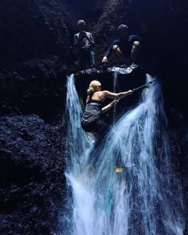 Eydis, Haukur and I climbing up a volcanic canyon
