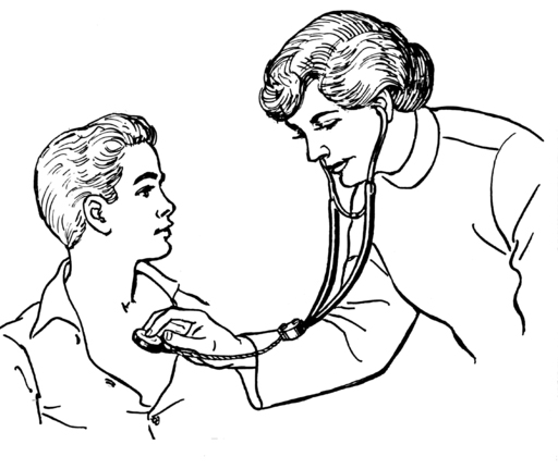 line drawing of doctor and patient using stethoscope