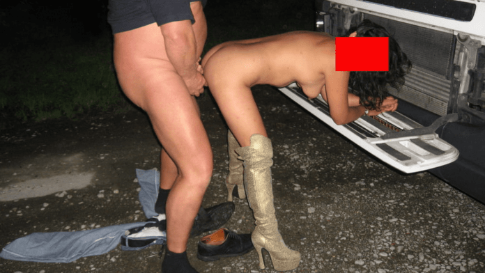 A tailgate table makes for great truckstop sex
