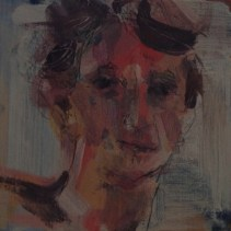 Sandy: here is my contribution for yesterday-I got so busy I did it this morning- a quick painting with my left hand- over an unwanted painting- acrylic and a little drawing with pencil- short but maybe 10-12 min instead of 7. I like the directness and not fussing