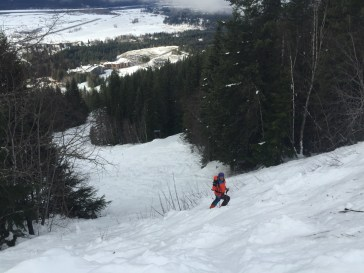 Two turns into Follow Me - one of Revelstoke Mountain Resort's blue slopes.