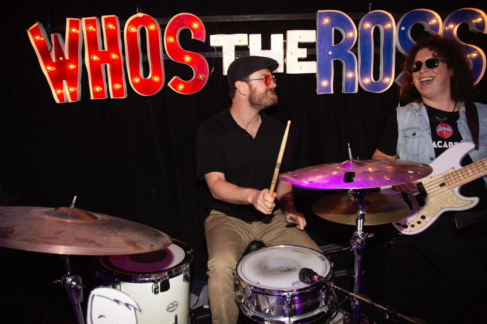 """Who's the Ross?"" live El Cid Silver Lake LA Los Angeles Hollywood comedy comedian host best late-night talk show Aaron Ross humor funny photo pic Rosscars awards Scott Wittenberg drummer drums"