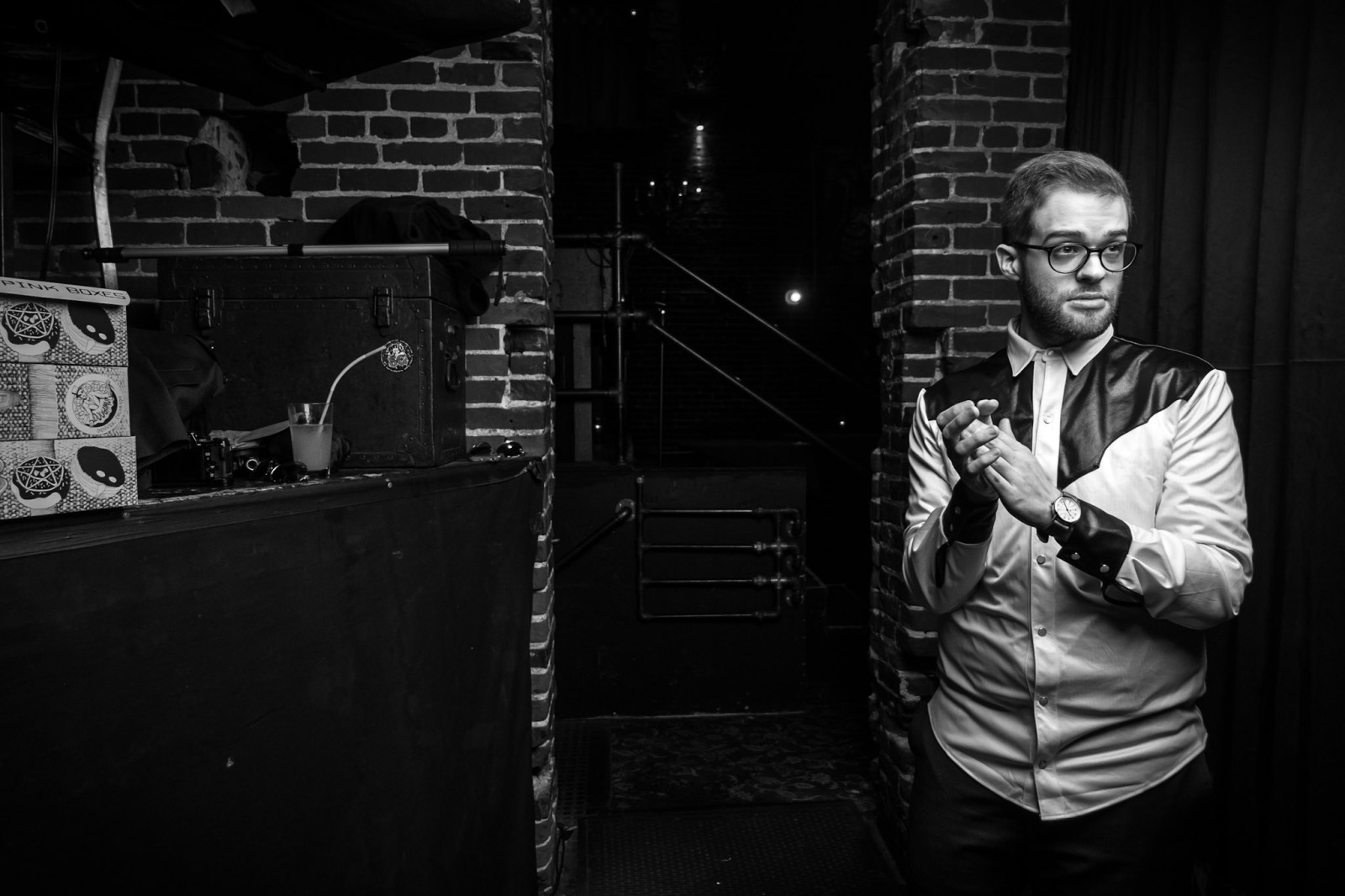 "Jordan Paladino portrait side stage PDX Portland live late-night talk show Aaron Ross ""Who's the Ross?"" Dante's comedian comedy funny humor sketch improv"