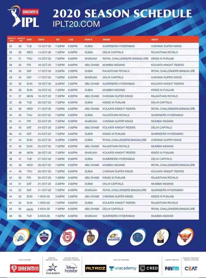 IPL fixtures cricket 2020