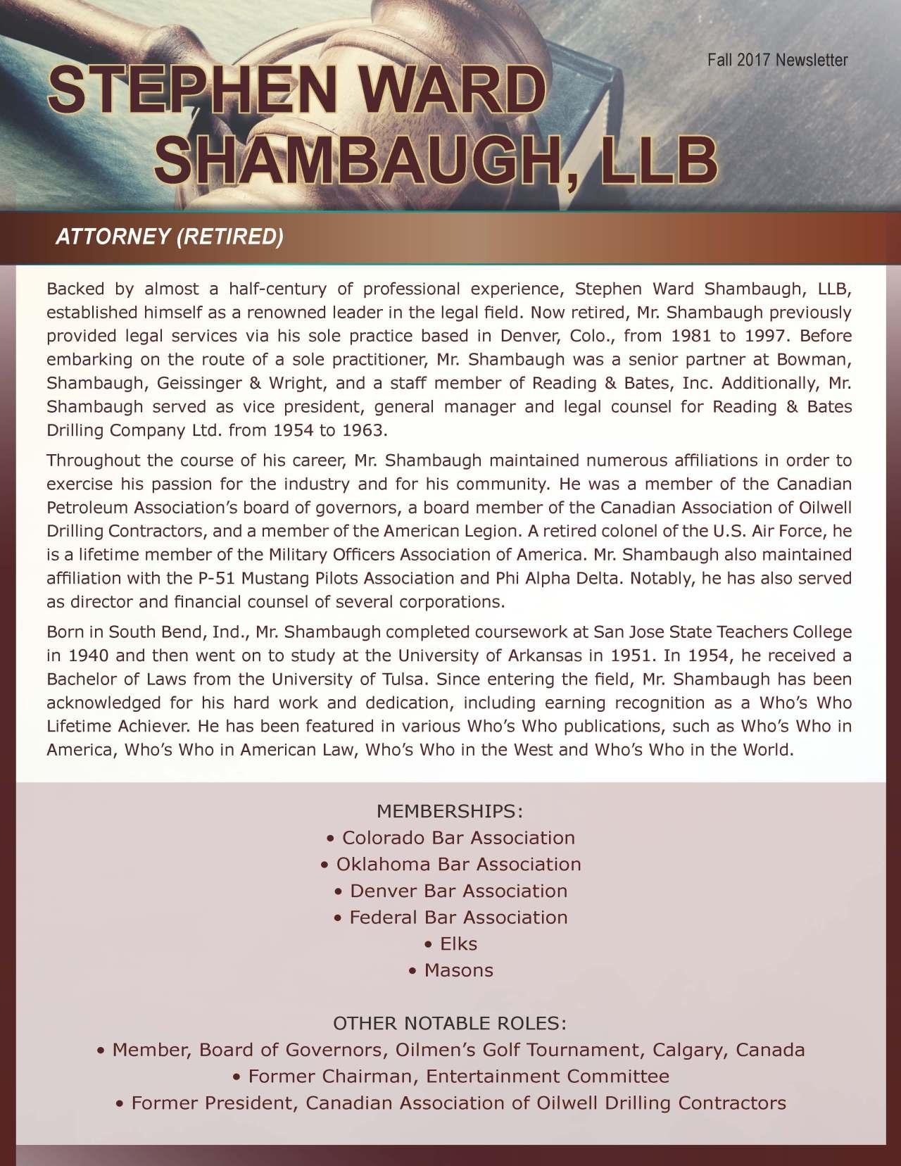 Shambaugh, Stephen 3631536_520535 Newsletter