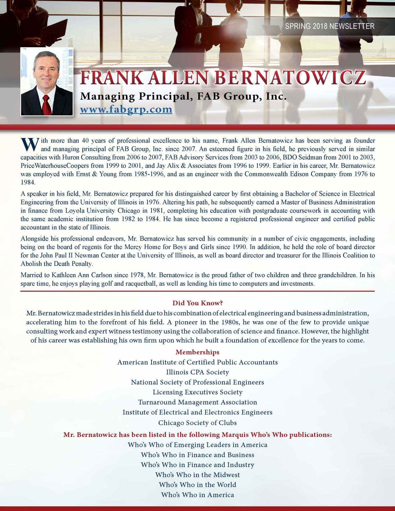 Bernatowicz, Frank 3769248_16059115 Newsletter REVISED