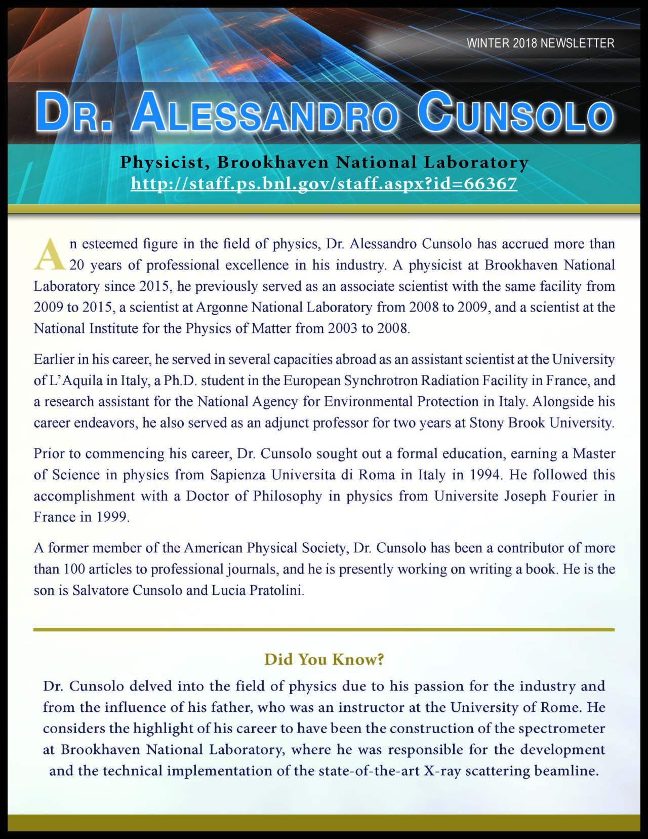 Cunsolo, Alessandro 3769336_35414724 Newsletter