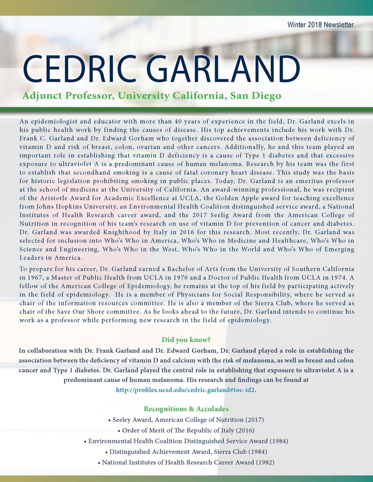 Garland, Cedric 2164270_239196 Newsletter REVISED