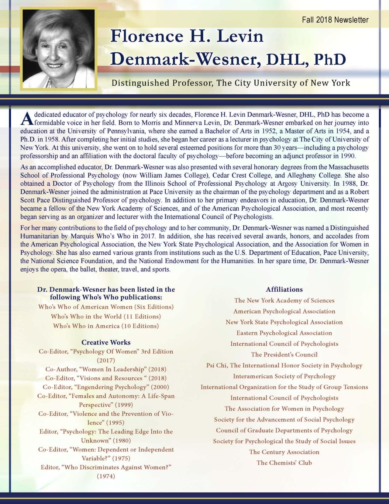 Florence H. Levin Denmark Wesner