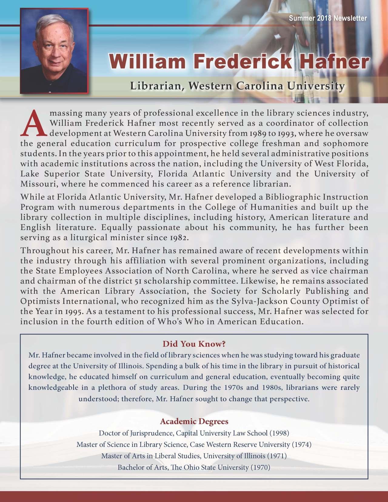 Hafner, William 3964559_23008709 Newsletter