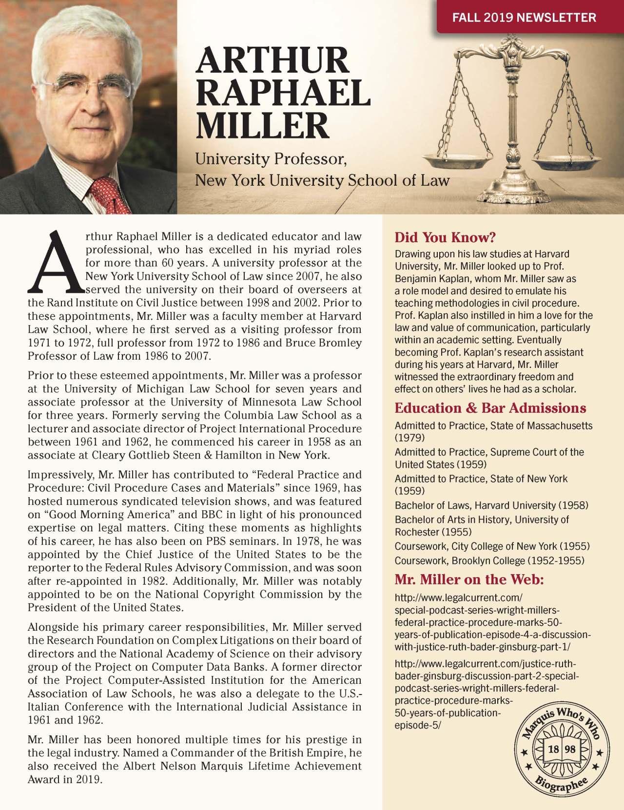 Miller, Arthur 4131770_2537508 Newsletter REVISED