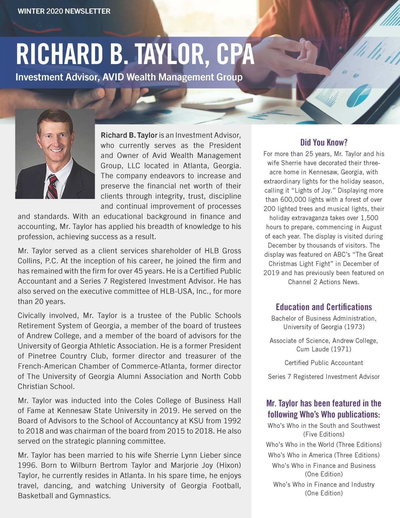 Taylor, Richard 4404883_4311100 Newsletter REVISED