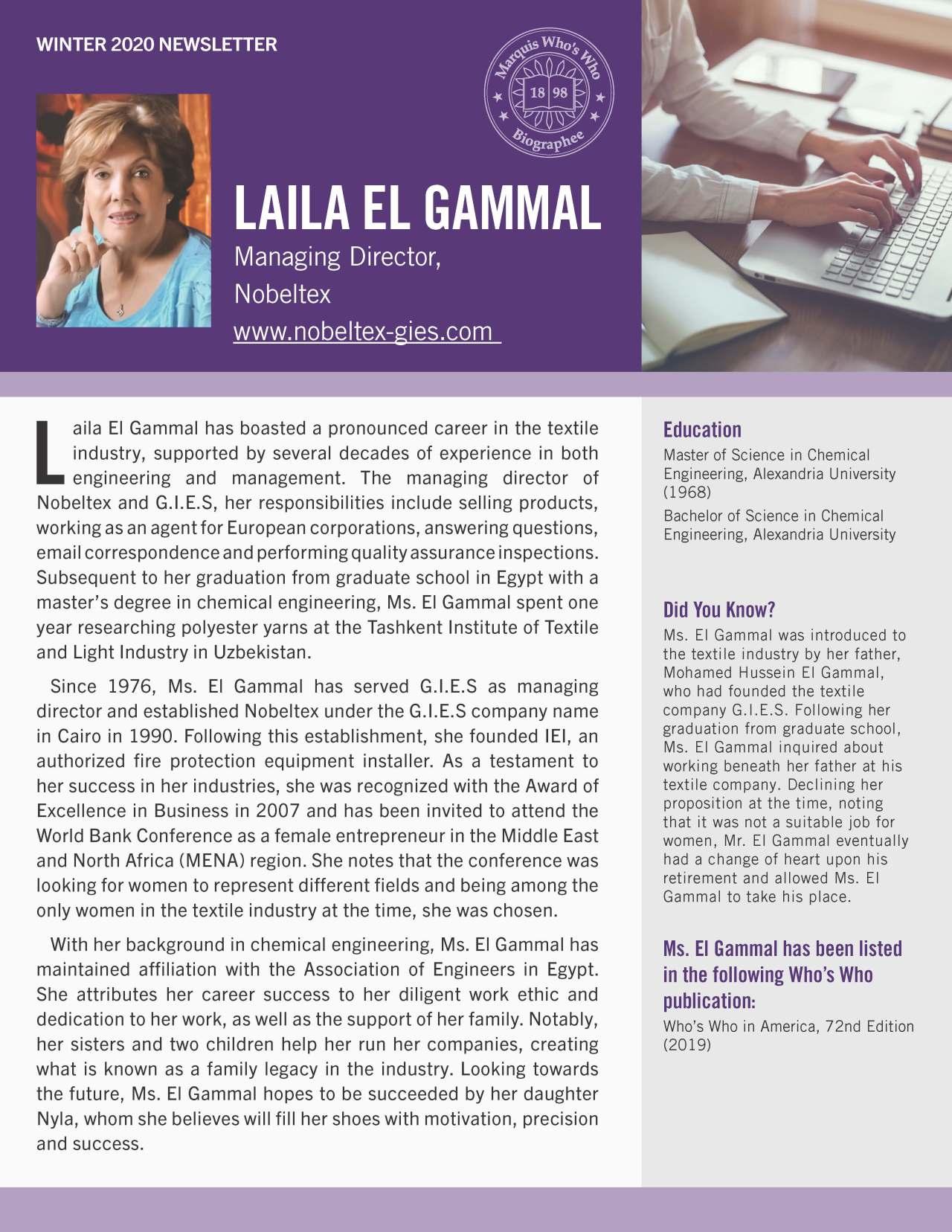 El Gammal, Laila 1425544_4001425544 Newsletter