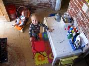 An old-school photo of Delanie & the boys' shared crafty space