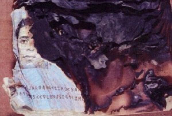 Remains of Ziad Jarrah's visa.