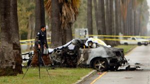 The wreckage of the car crash that killed journalist Michael Hastings.