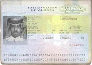 Visa belonging to Satam al-Suqami.
