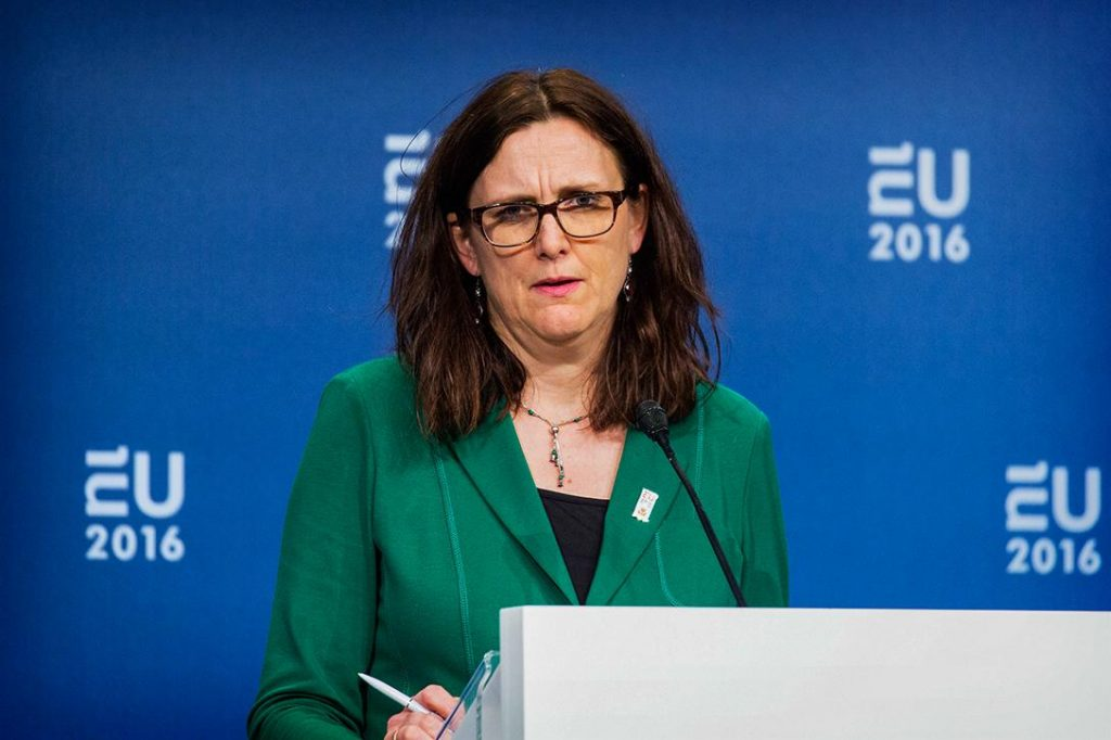 EU Trade Commissioner Cecilia Malmström Photo credit: EU2016 NL / Flickr (CC BY 2.0)