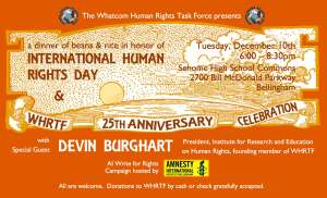 International Human Rights Day Dinner Tuesday, December 10th 6-8:30PM @ Sehome High School Commons