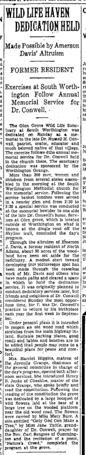 Dedication of the Glen Grove Wildlife Sanctuary, as documented in The North Adams Evening Transcript, September 6, 1931.