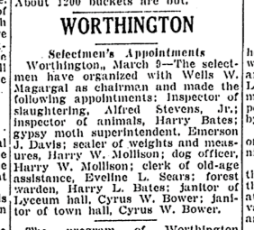 Emerson Davis appointed gypsy moth superintendent, as reported in the Springfield Daily Republican, March 10, 1942.
