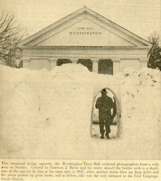 Snow arch built by Emmy, from the Springfield Morning Union, February 28, 1958.