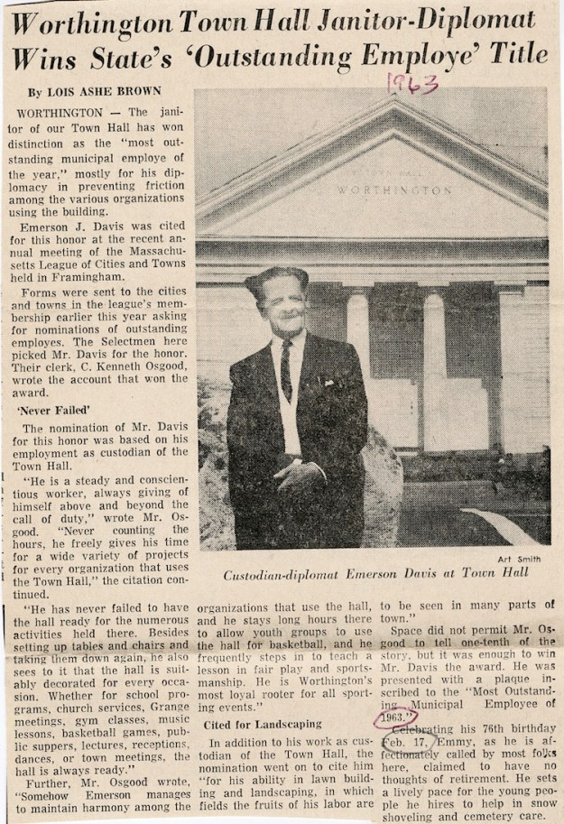 1963 profile of Emerson Davis in the Daily Hampshire Gazette.