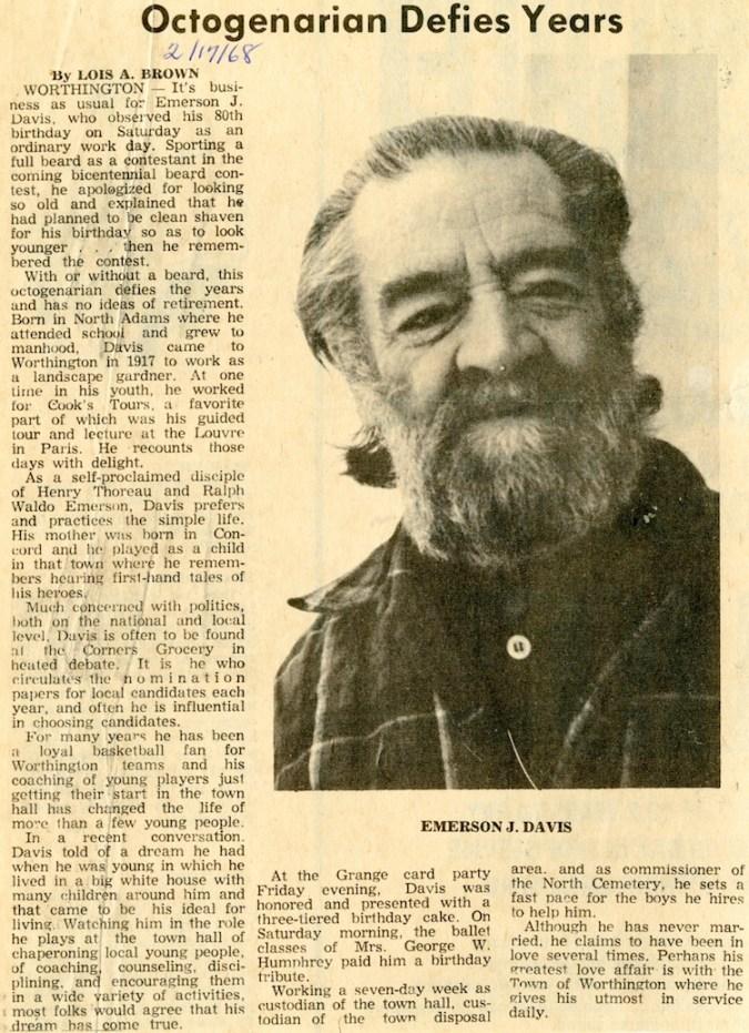 Profile of Emerson Davis in , February 17, 1968.