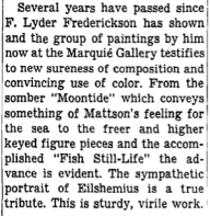 "Excerpt from ""Among the New Exhibitions,"" by Howard Devree, New York Times, October 22, 1944."
