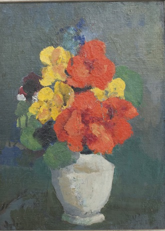 "Renee's Flowers in a White Vase, 9"" x 12"""