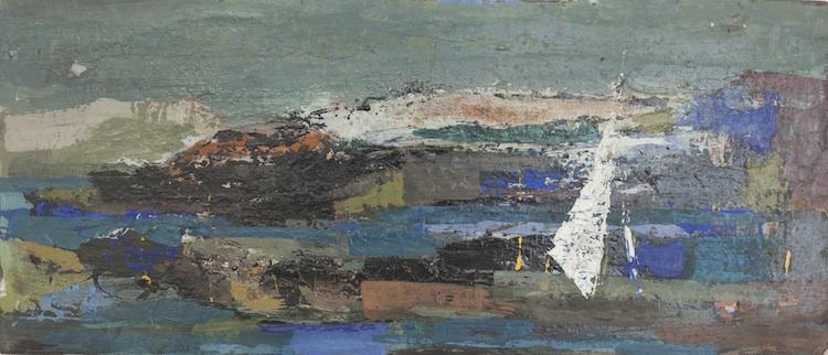 "Sailboat on a Lake, 8.5"" x 20"""