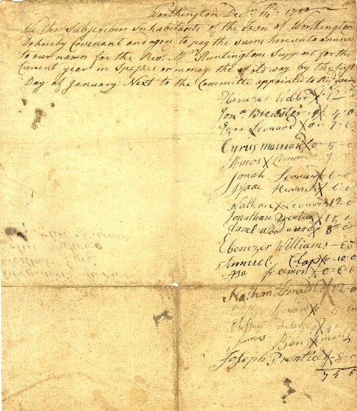 Promise of payment to Jonathan Huntington from Worthington residents, 1780.