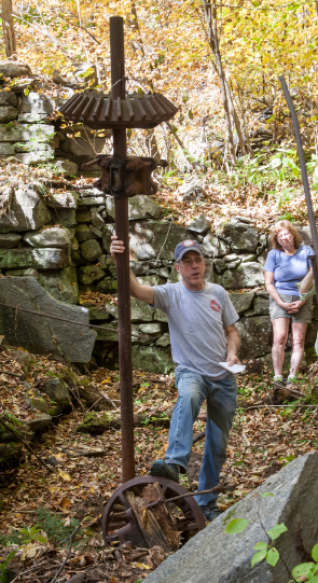 Dave Whitcomb and Pat Kennedy among the ruins.