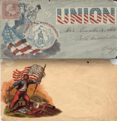 Patriotic envelopes were one way to drum up some fervor.