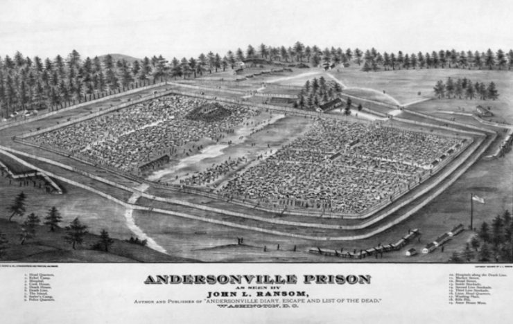 Illustration of Andersonville Prison.