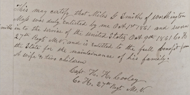 Entry for Miles G. Smith, October 1861.