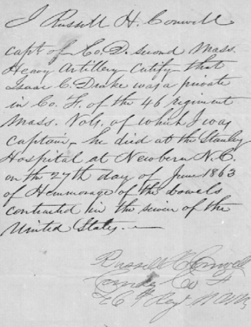 Letter from Russell H. Conwell attesting to Isaac Drake's service.