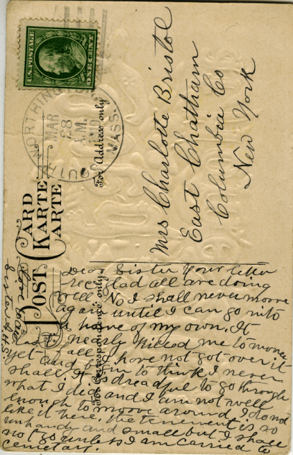 1910 postcard from Anna to her sister.