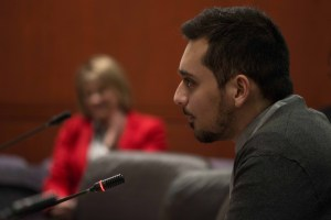 Saman Aziri gives testimony regarding the open source textbooks bill. (Photo by Charlie Smart)