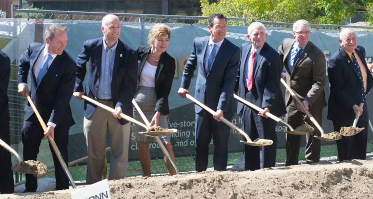 UConn President Susan Herbst, Governor Dannel P. Malloy, and other representatives attended the groundbreaking ceremony Wednesday.