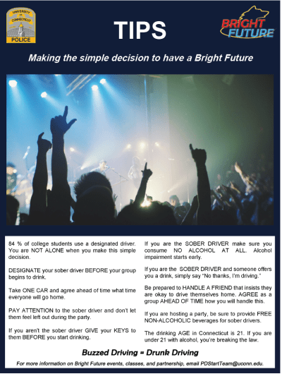 Bright Future Campaign poster with quick tips about alcohol and drugs.
