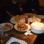 The pre-event buffet - enough to put us all down for the evening. Worst sausage rolls ever.