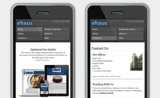Ehaus website on mobile