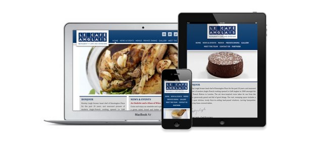 Le Café Anglais home page on dektop, mobile and tablet