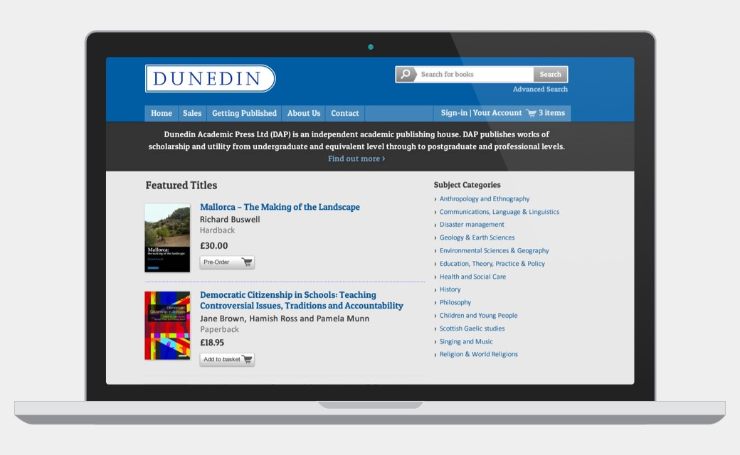 Dunedin Academic Press homepage screenshot